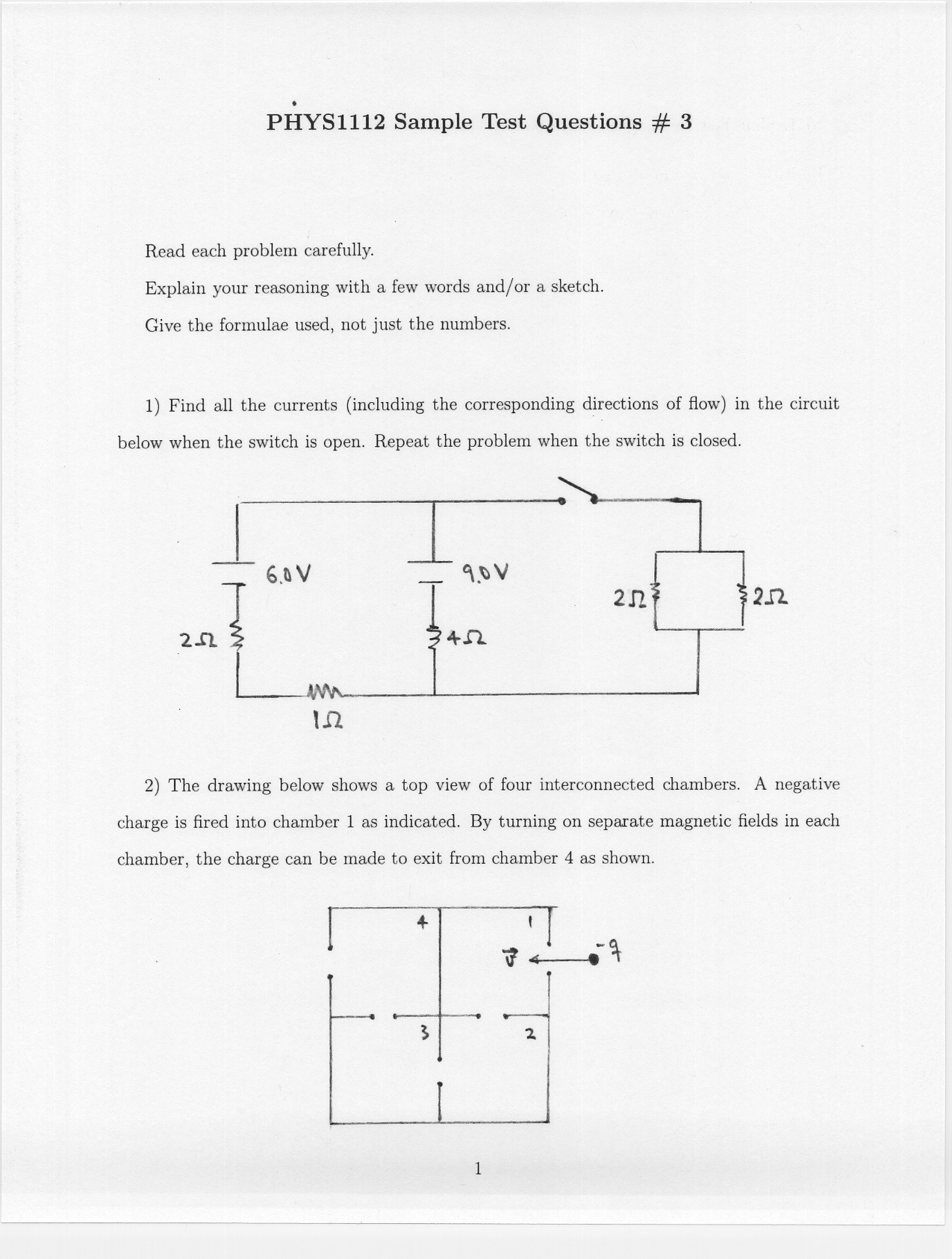 Phys 1112 Dr Nakayama Sample Exam Problems Circuit Diagram Test Questions 3